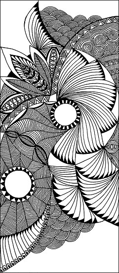 flying fans black and white zentangle by myslewis