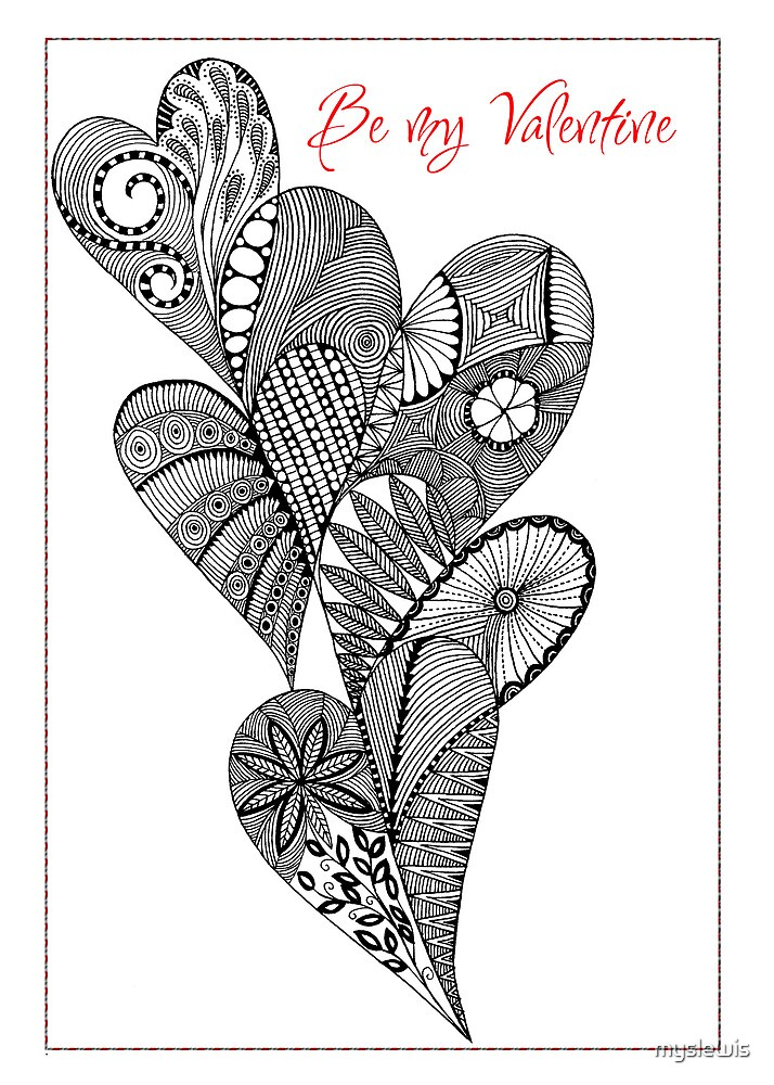 be my valentine 5 heart line drawing by myslewis