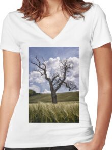 Dead Tree Dancing In A Cornfield Women's Fitted V-Neck T-Shirt