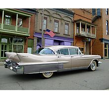 1958 Cadillac on Main Street in downtown Shawnee, Ohio.  Photographic Print