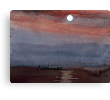 A boat in the moon Canvas Print