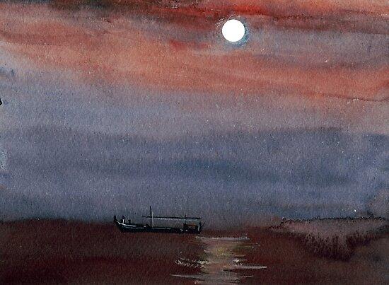 A boat in the moon by Anil Nene