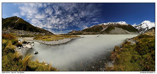 Mueller Glacier Terminal Lake Panorama by Robert Mullner