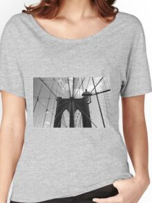 Brooklyn Bridge - Black and White Women's Relaxed Fit T-Shirt