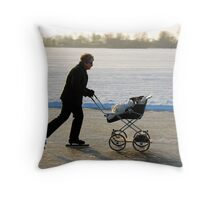 Taking out the dog the Dutch way Throw Pillow