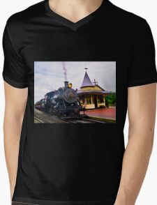Locomotive Steam Engine Mens V-Neck T-Shirt