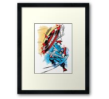 Captain America in action Framed Print