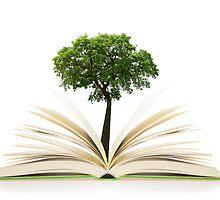 Tree growing from an open book, alternative recycling concept by Atanas Bozhikov Nasko