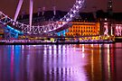 The London Eye at Night: London UK. by DonDavisUK