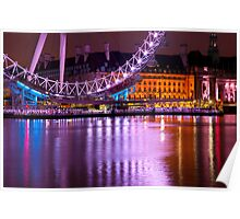 The London Eye at Night: London UK. Poster