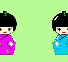 Cute Kokeshi dolls on green by JoAnnFineArt