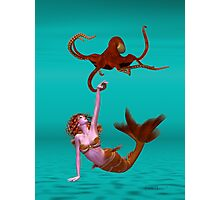 Hooked .. the mermaid and the octopus Photographic Print