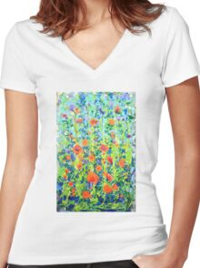 Flowers - original abstract painting Women's Fitted V-Neck T-Shirt