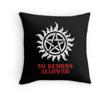 Supernatural No Demons Allowed [WHITE] Throw Pillow