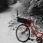 Red Bicycle on Black and white by Keith Jones