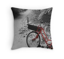Red Bicycle on Black and white Throw Pillow