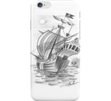Pirate ship sketch iPhone Case/Skin