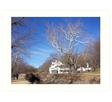 C&O Canal and Great Falls visitor center in winter Art Print