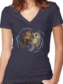 Cute: Sea Otters Women's Fitted V-Neck T-Shirt