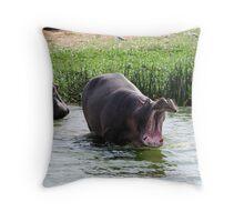 Big Yawn - Kazinga Channel, Uganda Throw Pillow