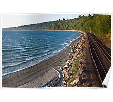 Railroad along the Puget Sound, Seattle, WA Poster