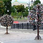 Metal padlocked Trees by Braedene