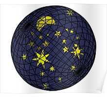 Celestial sphere with moon and stars Poster