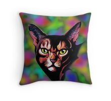 Cat Portrait Watercolor Style Throw Pillow