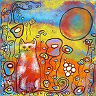 Fanciful Feline and Flowers by Juli Cady Ryan