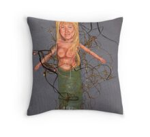 Mermaid Afloat-Art Doll Throw Pillow