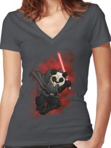 Panda Sith Women's Fitted V-Neck T-Shirt