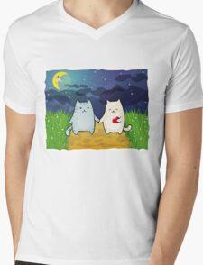 Cats under the moon Mens V-Neck T-Shirt
