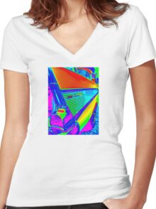 Vibrant World of the Chevy Bel Air Women's Fitted V-Neck T-Shirt