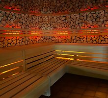 Finnish wooden sauna interior by Digital Editor .