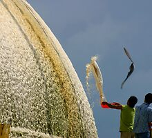 Whitewashing the great Stupa, Kathmandu by leannepapas