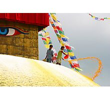 Painting lotus petals on the great stupa Photographic Print