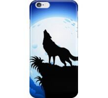 Wolf Howling at Blue Moon iPhone Case/Skin