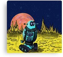 Lonely robot on remote planet darwing Canvas Print