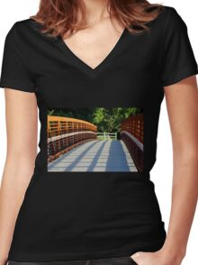Sunken Meadow  Bridge Women's Fitted V-Neck T-Shirt