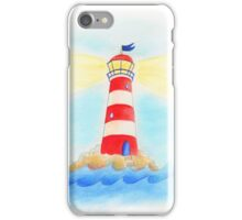 Lighthouse whimsical watercolor art  iPhone Case/Skin