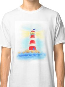 Lighthouse whimsical watercolor art  Classic T-Shirt