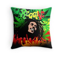Reggae Rasta Colors Fun and Marijuana Throw Pillow