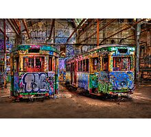 Two Trams Photographic Print