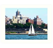 Sailboat Against Manhattan Skyline Art Print