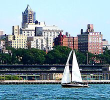 Sailboat Against Manhattan Skyline by Susan Savad