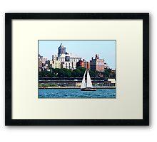 Sailboat Against Manhattan Skyline Framed Print