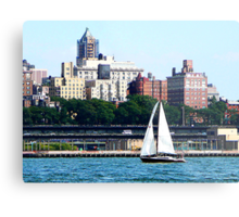 Sailboat Against Manhattan Skyline Metal Print