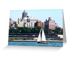 Sailboat Against Manhattan Skyline Greeting Card