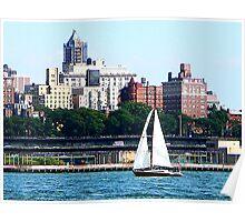 Sailboat Against Manhattan Skyline Poster