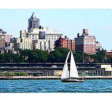 Sailboat Against Manhattan Skyline Photographic Print